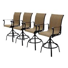 Patio Bar Furniture Set by Allen Roth Safford Sling Seat Swivel Bar Chairs Set Of 4