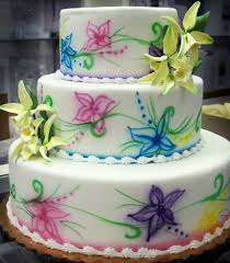 3 tier fondant airbrushed floral decoration u0026 flowers oteri u0027s
