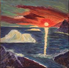 saatchi art artist em walsh painting sunset over iceberg alley newfoundland labrador