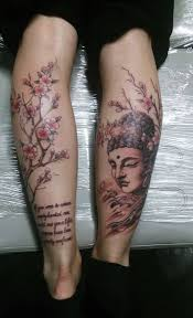simple and cherry blossom tree with buddha and text back