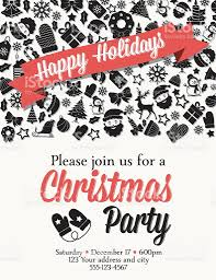 retro black and red christmas party invitation template stock