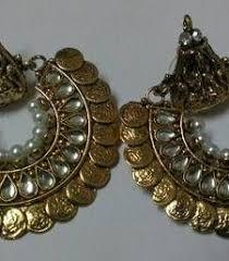 danglers earings buy oval half chand pink kundan meena polki dulhan earring
