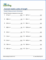 measuring units worksheet grade 6 measurement worksheets free printable k5 learning