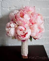 peonies bouquet blush pink peony bouquet with rhinestone handle by katesaidyes