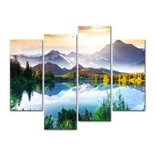 amazon com 4 pieces modern canvas painting wall art the picture amazon com 4 pieces modern canvas painting wall art the picture for home decoration fantastic sunny day is in mountain lake beauty world landscape