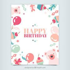 cute happy birthday card vector free download