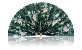 decorative fans green with pink flowers pleated decorative fans