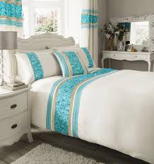 double size luxury cream u0026 teal blue faux silk duvet cover bed