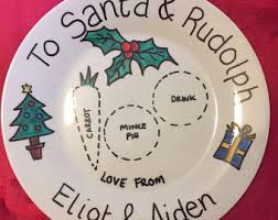 christmas plate personalised santa and rudolph plate christmas plate