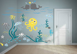 ocean wall decal project for awesome ocean wall decals home jellyfish adventure wall web art gallery ocean wall decals