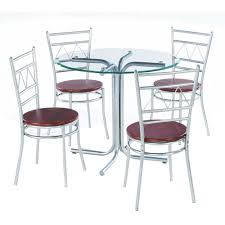 Stainless Steel Four Seater Steel Dining Table Set Shape Round Rs