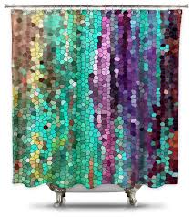 catherine holcombe morning mosaic fabric shower curtain