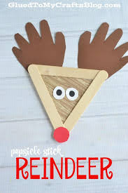 Kids Reindeer Crafts - popsicle stick reindeer kid craft reindeer craft paper pom