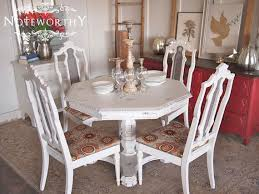 Distressed Pedestal Dining Table White Distressed Pedestal Table And Chairs Noteworthyhome White