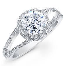 split band engagement rings natalie k 14k white gold split shank halo diamon
