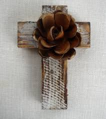 rustic wooden crosses cross rustic wood metal flower