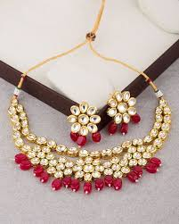 stone necklace set designs images Buy designer necklace sets classic gold plated kundan red stone jpg
