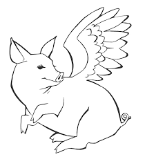 flying pig coloring pages and glum me