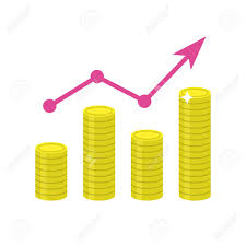 growing chart growing chart flat icon chart of gold coins with arrow showing