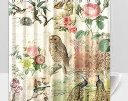 Botanical Shower Curtains Owl Shower Curtain Etsy