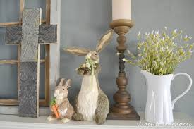 a little easter decor my mantel lilacs and longhornslilacs and
