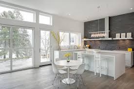 Gray Stone Backsplash by Realstone System Stone Backsplash Home Bar Traditional With Wood