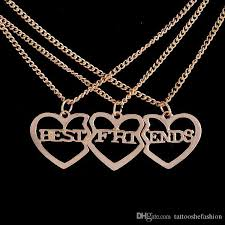 beautiful necklace images Wholesale best friends forever necklace three piece gold color jpg