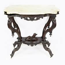 victorian marble top end table victorian rosewood parlor table with carved dog and marble top ebth