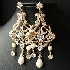 and pearl chandelier earrings gold chandelier bridal wedding earrings statement gold bridal