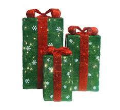 3 sisal gift boxes yard lighted display set
