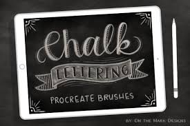 5 chalk lettering procreate brushes by on the mark designs