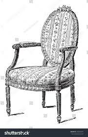 Armchair Upholstered Armchair Upholstered Chintz Vintage Engraved Illustration Stock