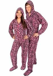 couples pajamas pink leopard footed pajamas matching pajamas