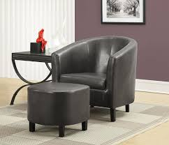 minimalist side table furniture charcoal grey leather chair with round leather ottoman