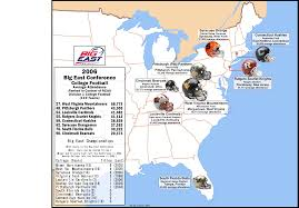Map Of Florida Colleges by College Football The Big East Attendance Map 2006