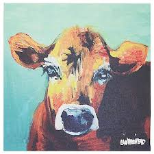 Creative Co Op Canvas Blue Background Cow Wall Decor View in