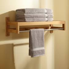 Towel Shelves For Bathroom Pathein Bamboo Towel Rack With Hooks Bathroom