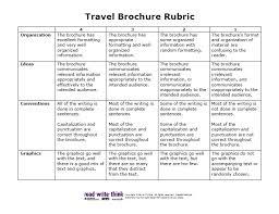 brochure rubric template travel brochure rubric www rubrics4teachers classroom