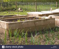 large wooden planters on an allotment in mansfield