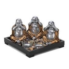 Home Decor Buddha Statue by Speak No Evil Hear No Evil See No Evil Buddha Statue Candle Rock