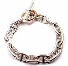 sterling silver rose gold bracelet images Hermes chaine d 39 ancre sterling silver gold link bracelet at 1stdibs jpg