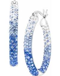 oval hoop earrings fall into this deal on crystaluxe oval hoop earrings with blue