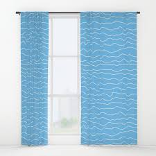 Turquoise And Curtains Turquoise With White Squiggely Lines Window Curtains By