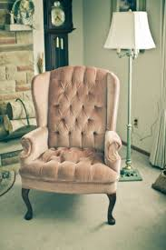 dusky pink plush velvet wingback chair inspired to have this by