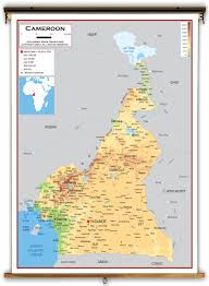 map of cameroon cameroon physical educational wall map from academia maps