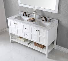 White Bathroom Vanity With Carrera Marble Top by Virtu Usa 60 Inch Elise Square Sink Vanity In White