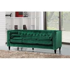 Velvet Tufted Loveseat Esofastore Modern Sofa Loveseat 2pcs Sofa Set Top Quality Emerald
