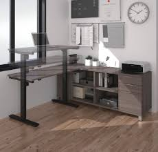 Adjustable Sit Stand Desk by Modern Height Adjustable Sit Stand Desk With Credenza In Bark Gray