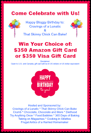 bloggy birthday giveaway 350 amazon gift card or visa gift card