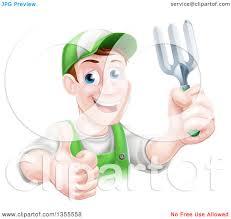 gardening emoji clipart of a middle aged brunette white male gardener in green